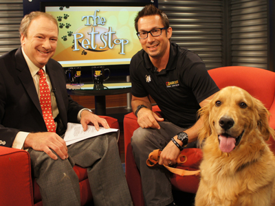 Celebrity Dog Trainer Greg Kleva with grown-up Sammy on The Pet Stop with Dr. Brian Voynick