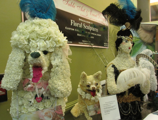 Dog Sculptures Made Out Of Flowers For Events With