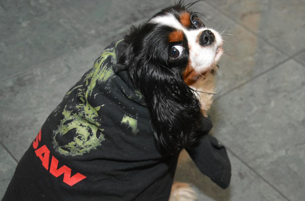 Halloween Dog in Saw Tshirt